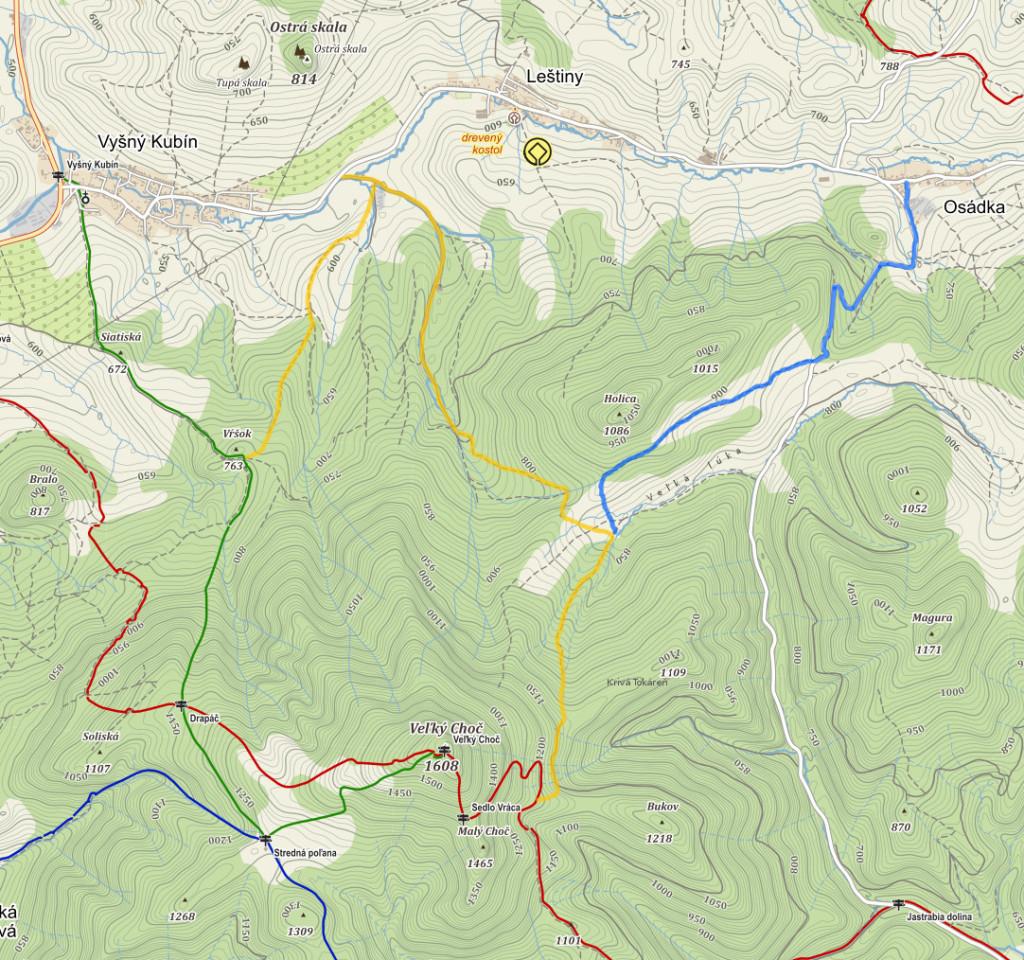 Mapa z Danielovca a Osádky na Choč